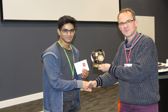 Winner 1 Whitchurch School student Raihaan Biju with Frank