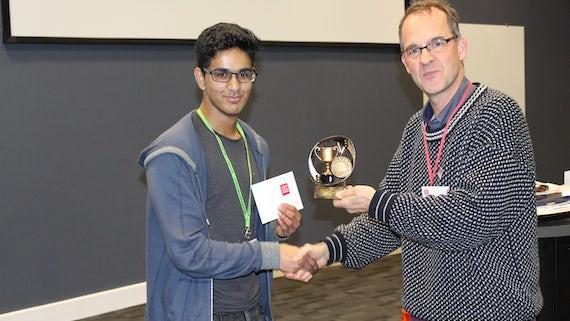Winner 1 Whitchurch School student Raihaan Biju with Frank