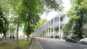 Architects visuals of the new Centre for Student Life surrounded by trees
