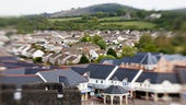 Aerial shot of Welsh town