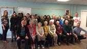 Michaelston Community College pupils and retired residents, with Dr Stephanie Ward and Dr Dave Wyatt