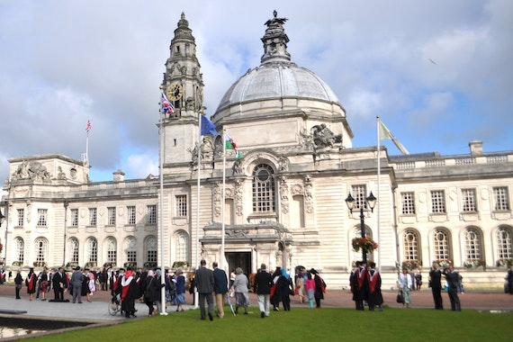 Image of Graduates outside City Hall