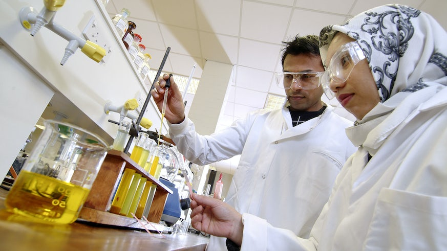 Chemistry students in a lab