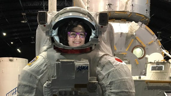 Image of Dr Castano wearing a spacesuit