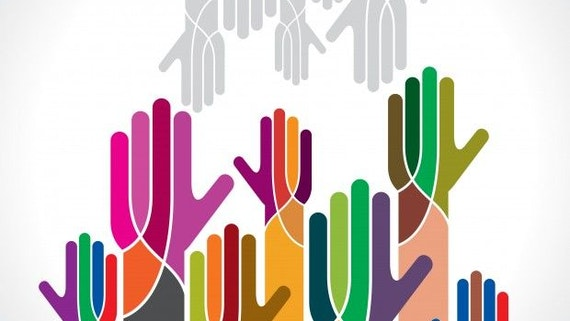 Hands working together to depict people and business