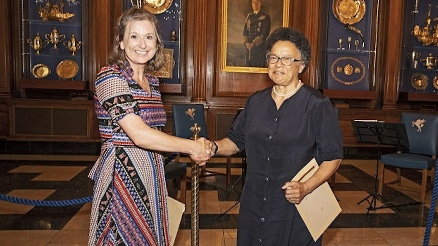 Dr Lydia Hayes with former High Court judge Dame Linda Dobbs at the Inner Temple, London.