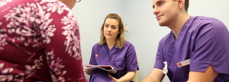 Mental health nursing students in conversation