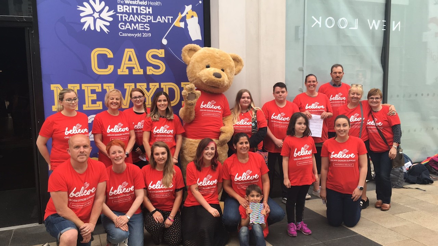 Students and staff at the launch of the British Transplant Games 2019
