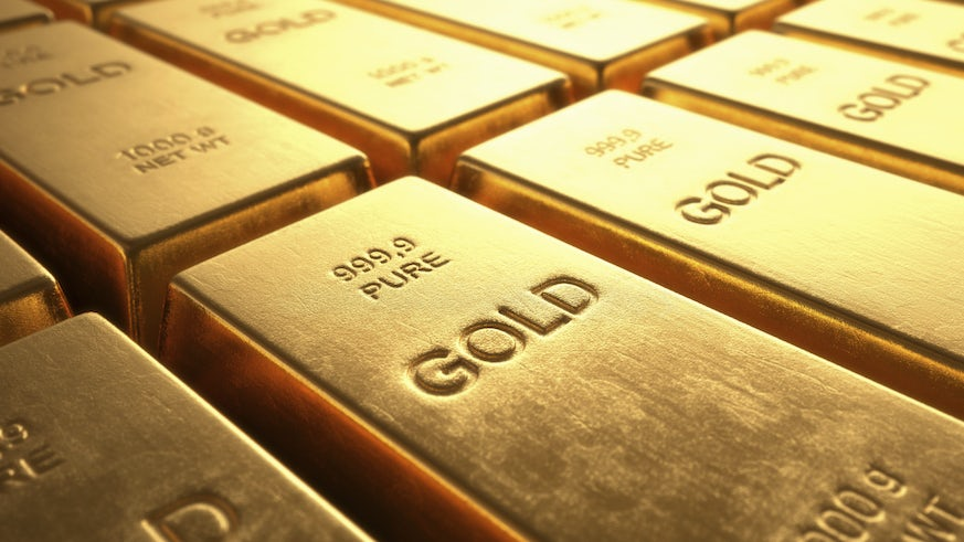 Gold bars in a row