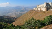 Crac des Chevaliers, a well preserved Crusader fortress in Syria
