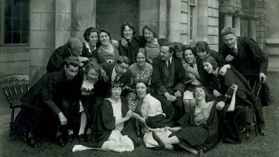 Group of students outside main building, 1920s