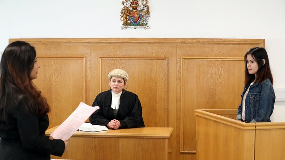Students in a mock courtroom