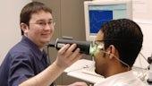 Patient having an eye test