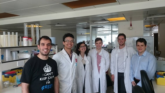 Carrdiff University iGEM team in the laboratory