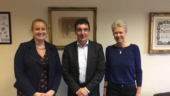 Image of Richard Whipp Scholarship recipient, Hannah Wilton, with Professor Martin Kitchener and Anne Whipp
