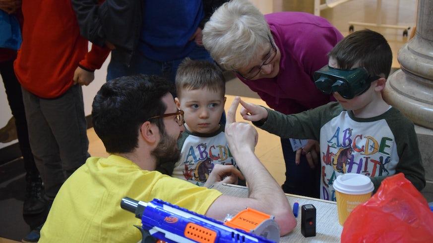 Children at exhibit at Brain Games 2017