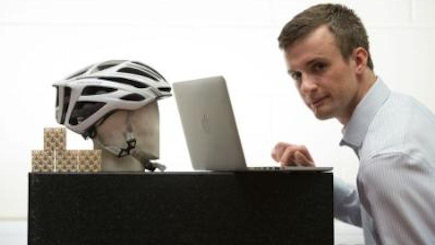 helmet and laptop