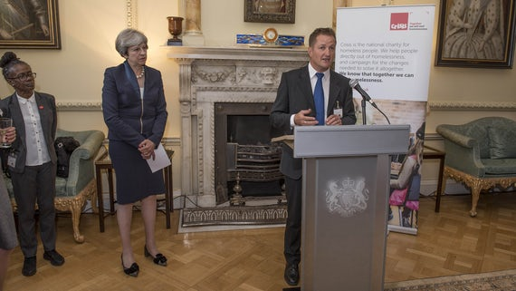Image of Prime Minister Theresa May hosting a reception with homlessness charity Crisis