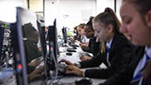 School pupils learning in Computer Science lab