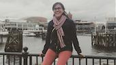 Mexican student Margarita Cuesta Lopez in Cardiff Bay