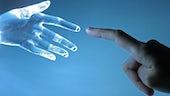 Cyborg hand and human hand