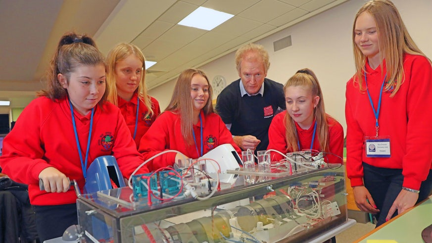 School pupils taking part in science demonstration