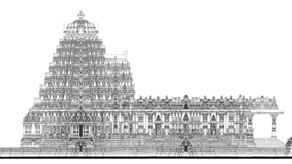 A side view of main elevation of the design for the hree Kalyana Venkateshwara Temple.