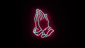Neon sign of praying hands