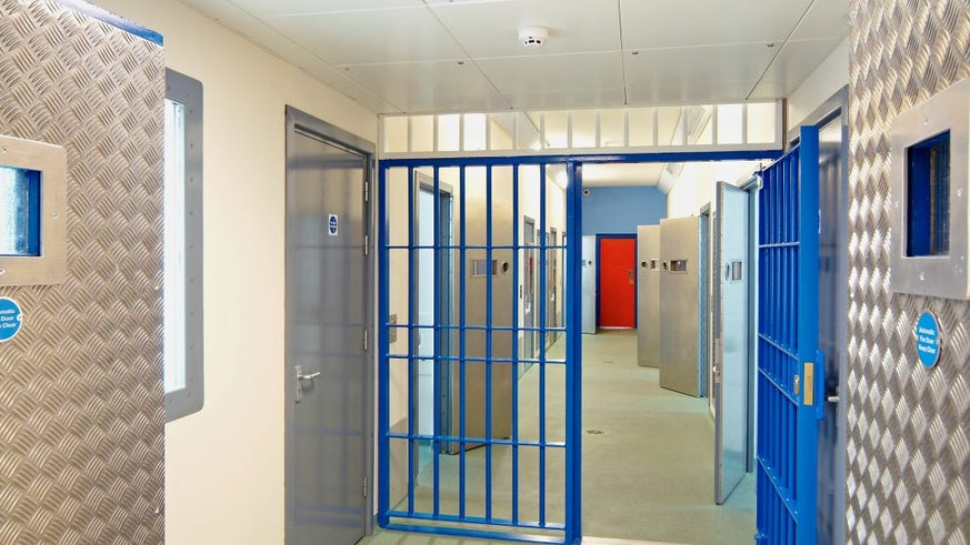 An image of the interior of a prison