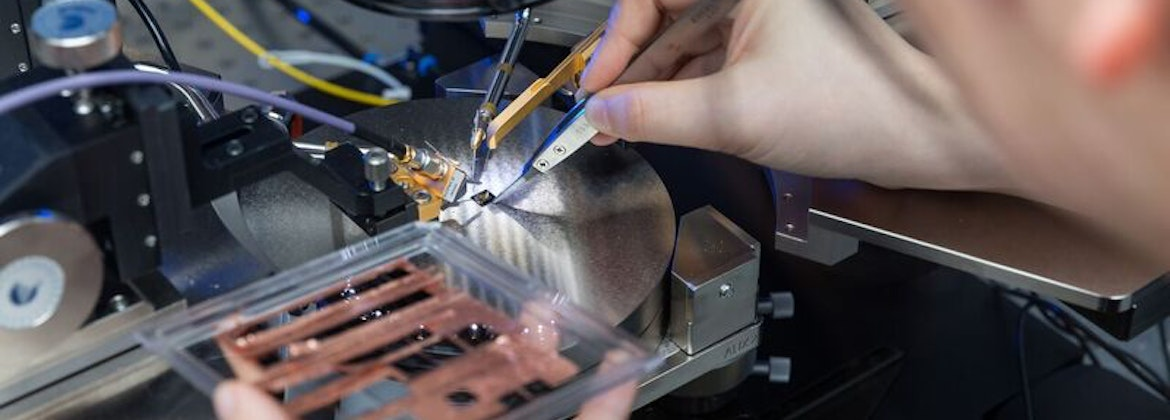 An IQE employee working on compound semiconductors