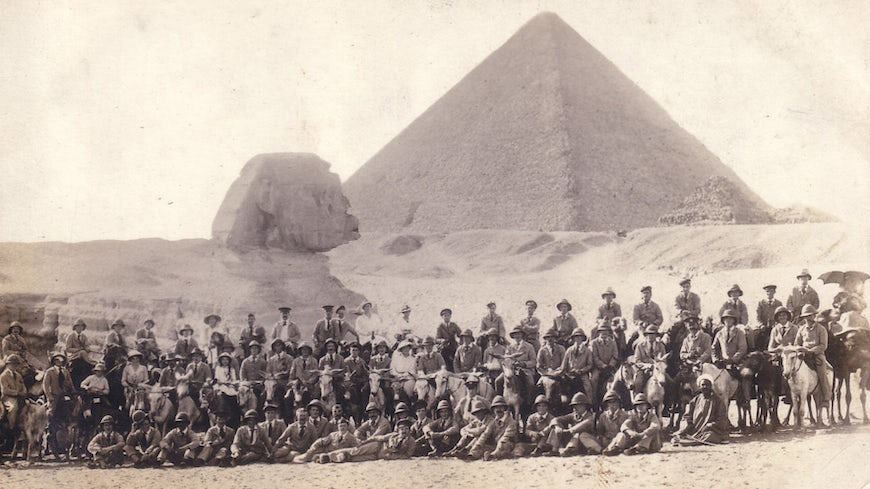Soldiers beside the sphinx.