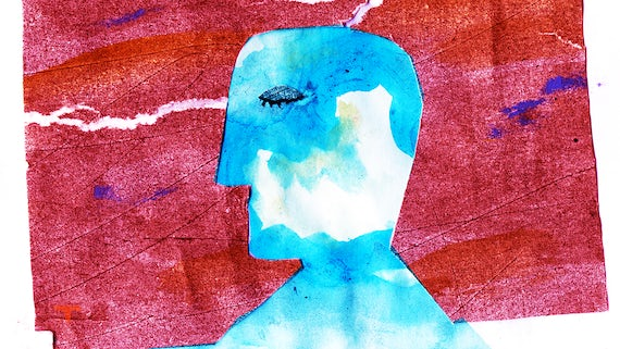 An abstract painting of a person's head in profile