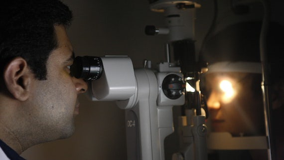 Optometrist in clinic
