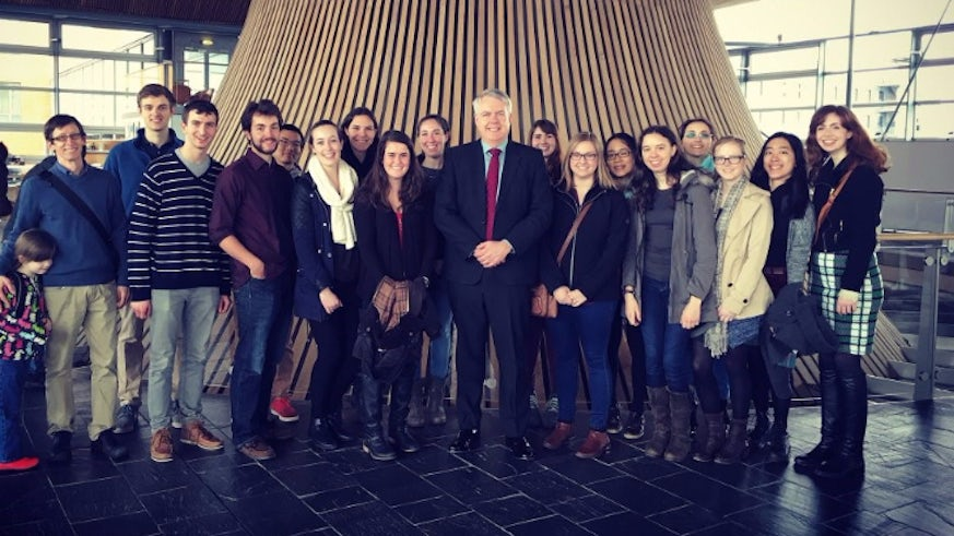 Colgate students with the First Minister