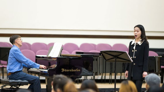 Student singing with a pianist