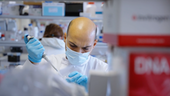 researcher working in lab wearing a mask and holding a pipette