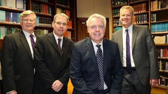 Left to right: Sir Adrian Webb, Chair of PPIW; Professor Steve Martin, Director, PPIW; First Minister, Carwyn Jones; Professor Colin Riordan, Vice-Chancellor, Cardiff University