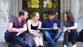 Postgraduate students on steps