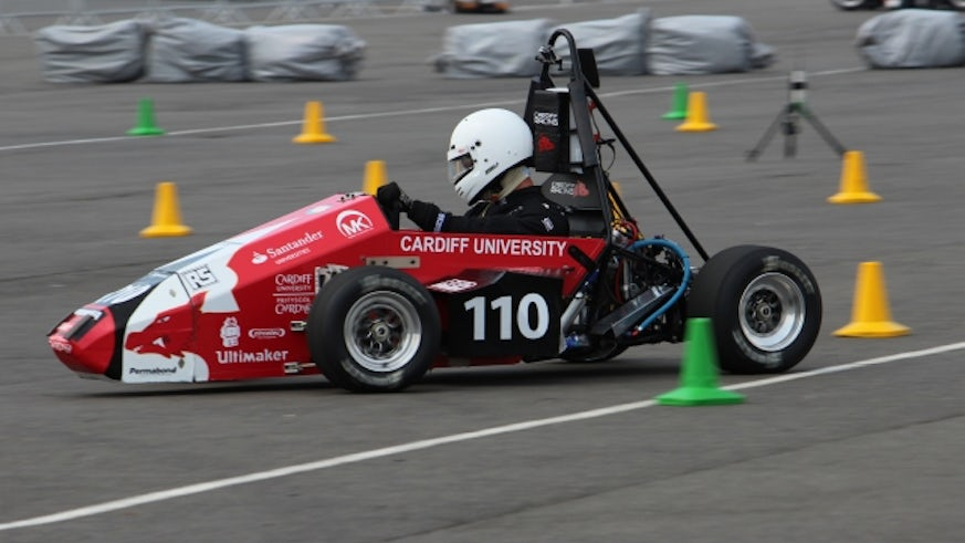 Cardiff Racing car in action