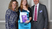 Cardiff student midwife Hayley Forbes receiving her Cavell Award
