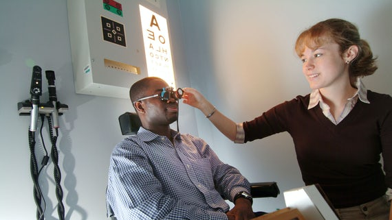 Patient having an eye test