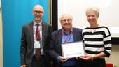 Image of Professor Mike Reed receiving his lifetime achievement award
