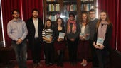 Cardiff Law School's Global Justice Pro Bon students receive a copy of Ben Rawlence's book City of Thorns: Nine Lives in the World's Largest Refugee Camp as a token of thanks for their work.