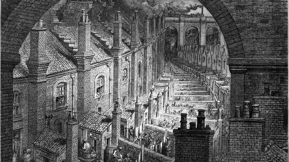 Victorian London streets with back to back terraces, from Gustave Doré, London, a Pilgrimage (1872)