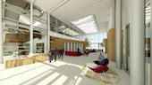 Architect's impression of the interior atrium of the Translational Research Hub.