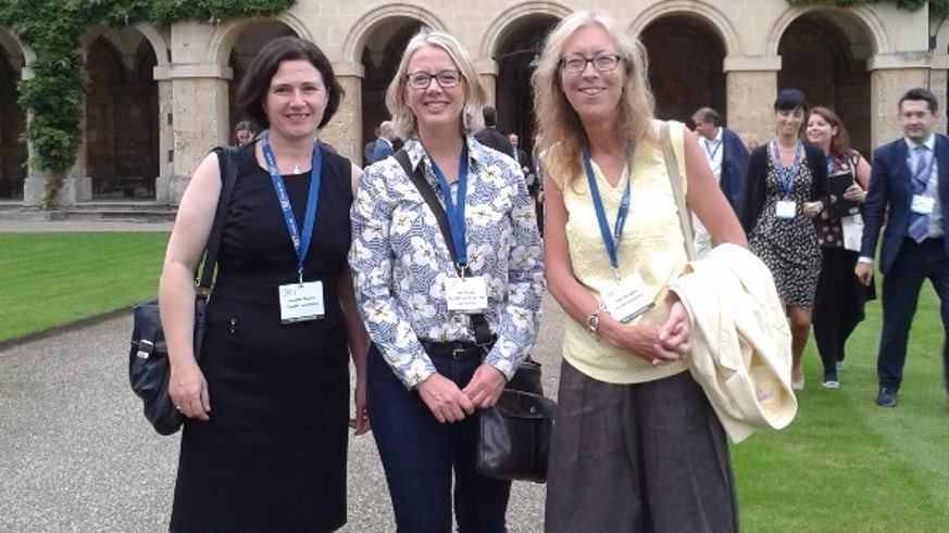 Annette Morris, Sara Drake and Julie Doughty (left to right) represented the School of Law and Politics at this year's Conference of the Society of Legal Scholars (SLS).