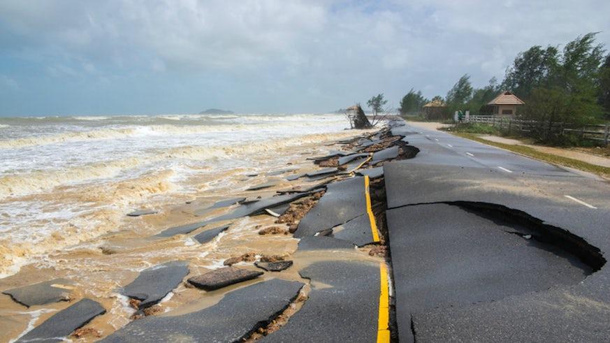 Coastal road damaged by earthquake