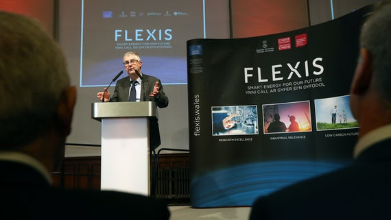 Mark Drakeford speaking at Flexis launch