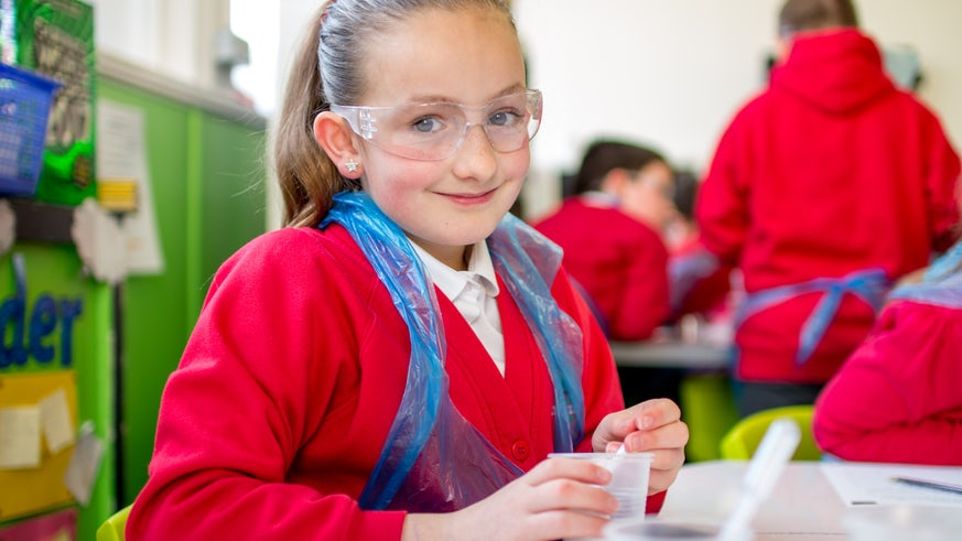 Schoolgirl in lab gear