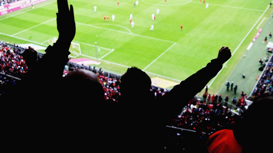 Fans cheering in football stadium